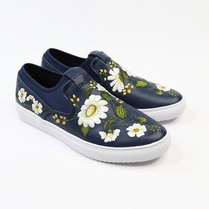 Mark Nason Floral Navy Leather Slip On Sneakers